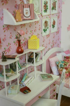 Wooden Diorama Pink Flower by A.N. 005