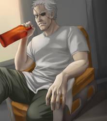 Hans drinking