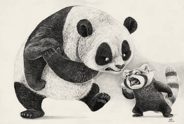 Panda Fight by willustration