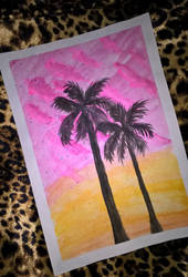 Pink clouds and palms