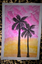 Pink clouds and palms 2