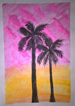 Pink clouds and palms 3