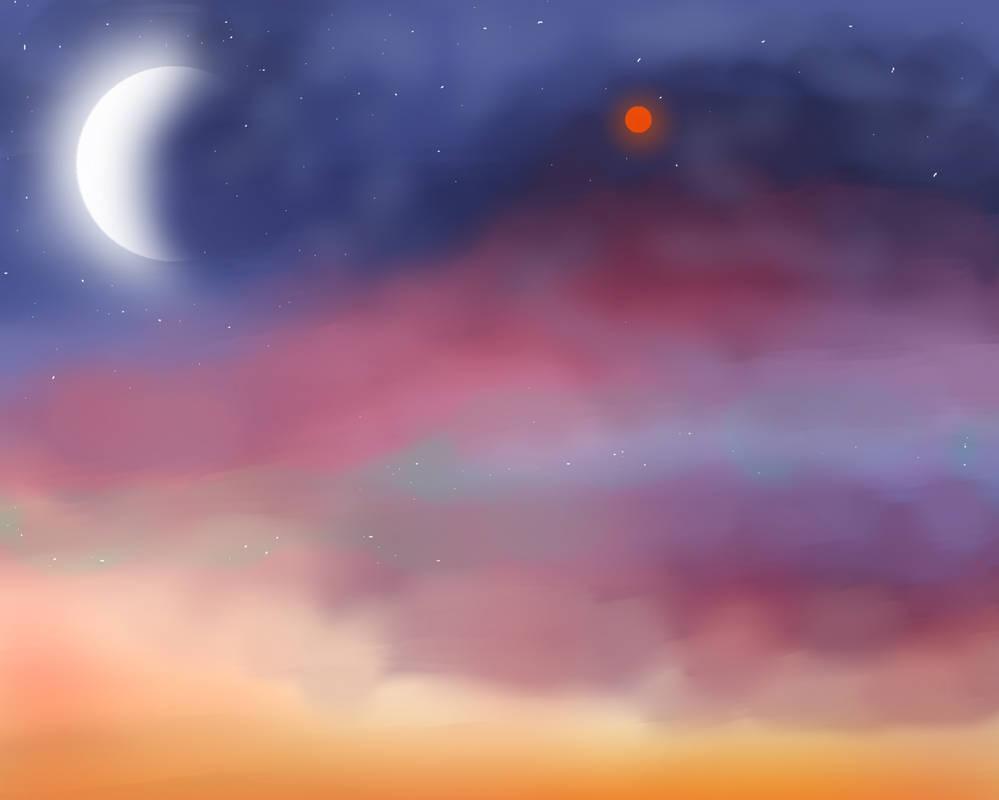 Moonlit sunset
