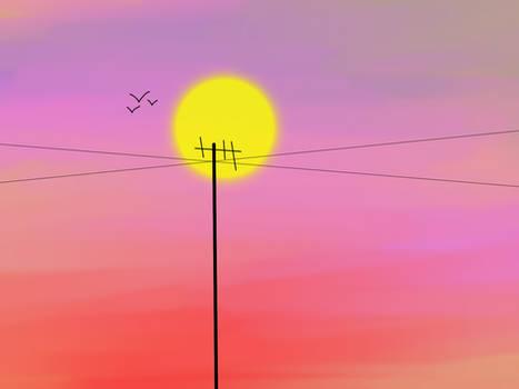 Bright pink sunset