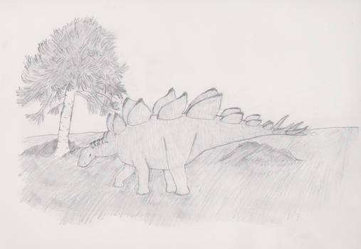 Stegosaurus and monkey puzzle tree