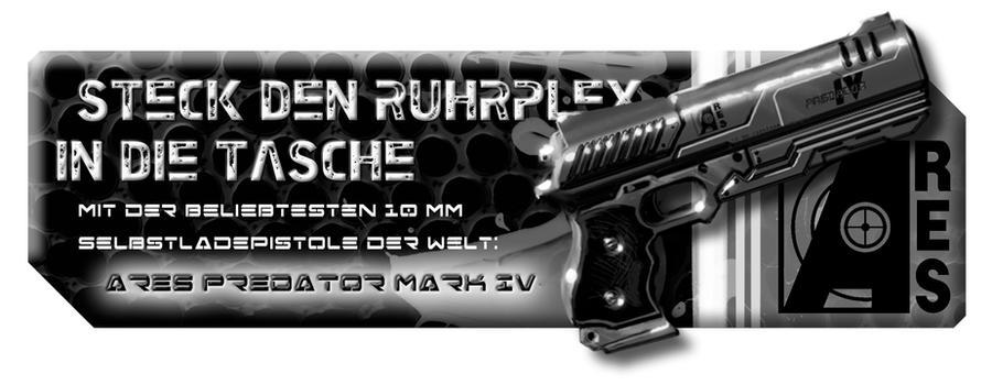 Shadowrun Ares Predator Gun Ad by raben-aas