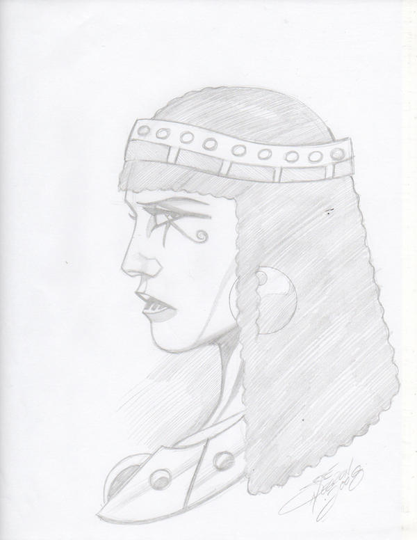 Egyptian queen pencil sketch by jinn366