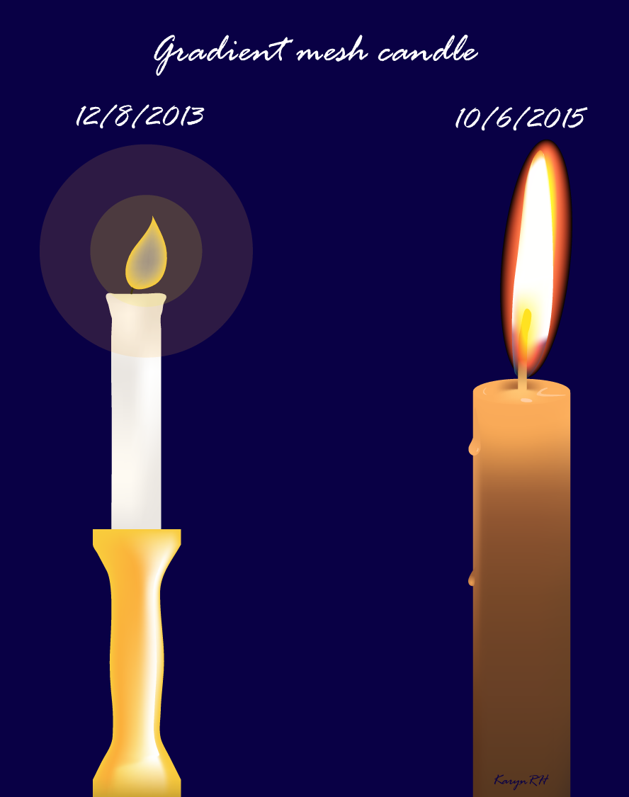 Gradient Mesh Candles Comparison by KarynRH