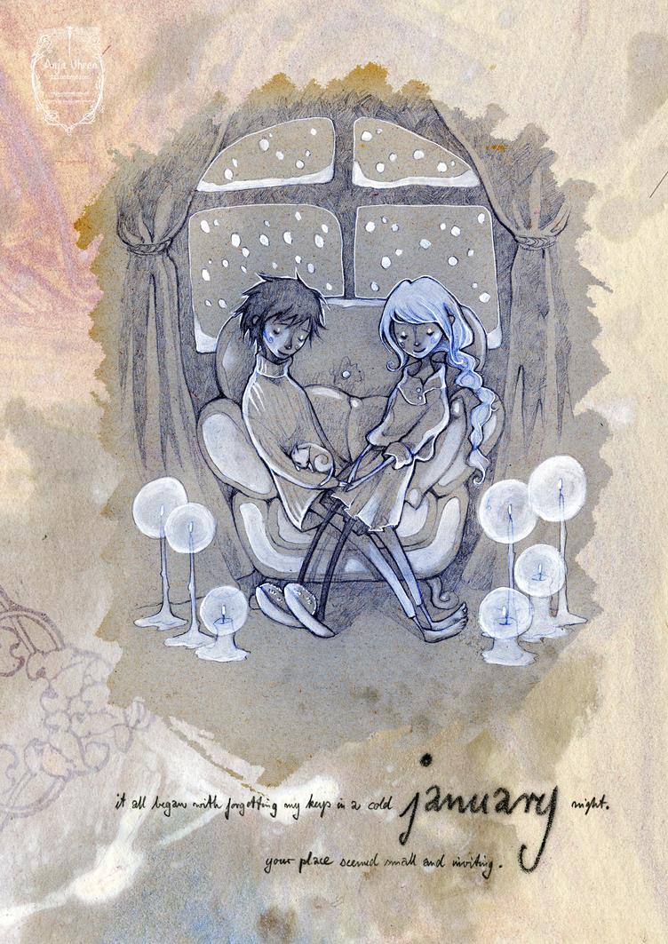 2015 calendar 'encounters' - january by Miss-Belfry