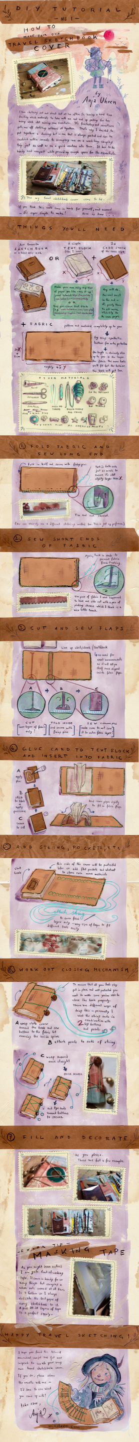 Tutorial - Travel Sketchbook Cover by anja-uhren