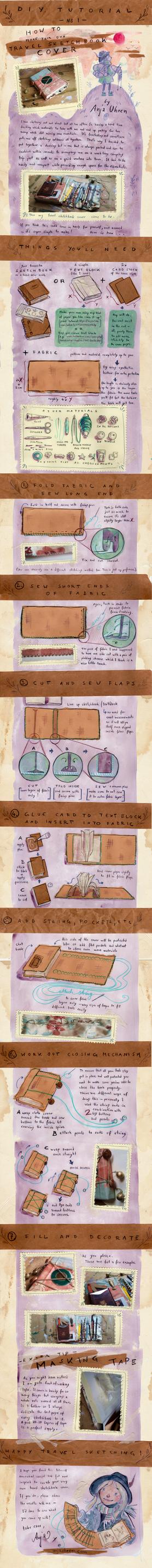 Tutorial - Travel Sketchbook Cover by anja-uhren