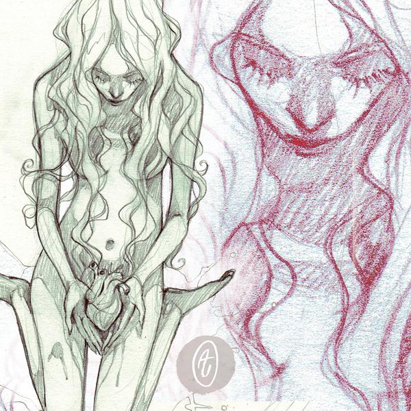 commission: broken heart - sketch by anja-uhren