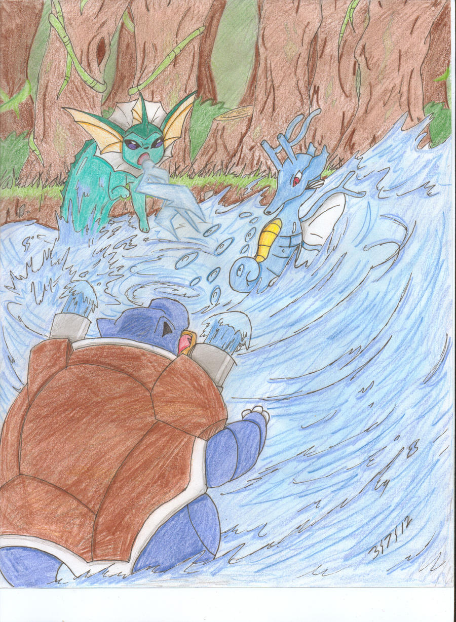 Vaporeon, Kingdra and Blastoise by Scrafty112