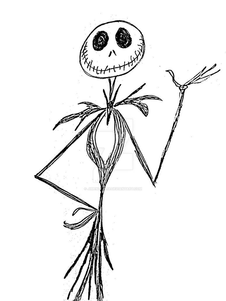 Best jack skellington drawing by jimenopolix on deviantart for Jack skellington coloring pages