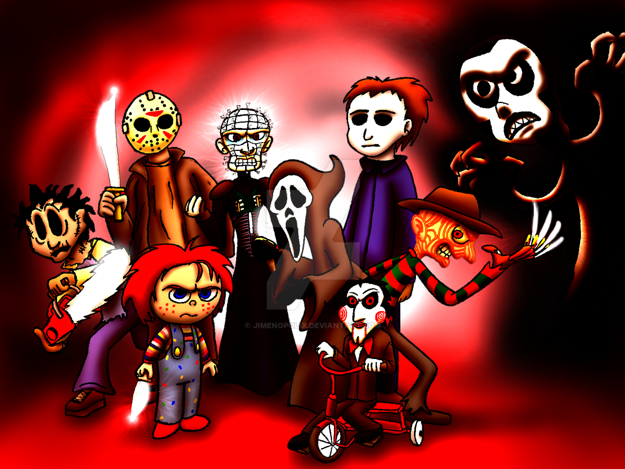 Horror Movie Slashers Crossover (Colored) By JIMENOPOLIX