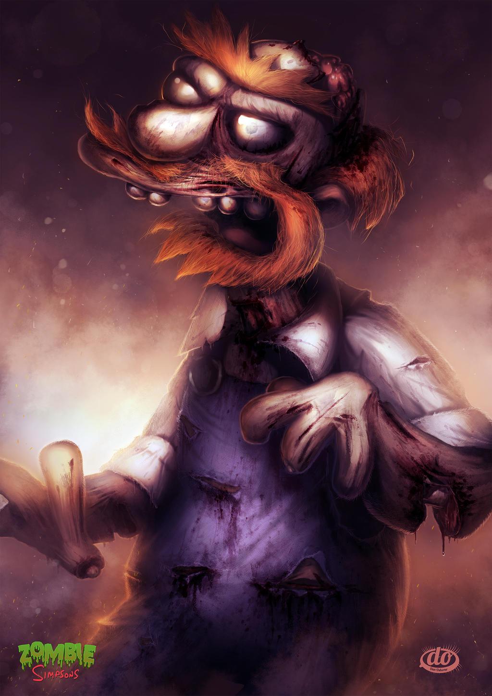 Zombie Simpsons: Groundskeeper Willie by danosborne