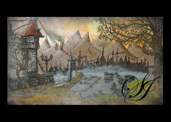 steampunk landscape by saretta13 on deviantart