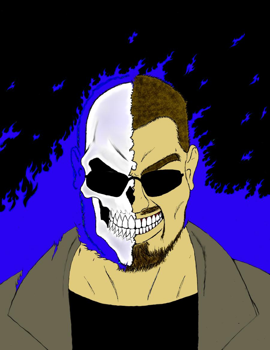 DJ Johnny Skull in flames by Steel-Raven