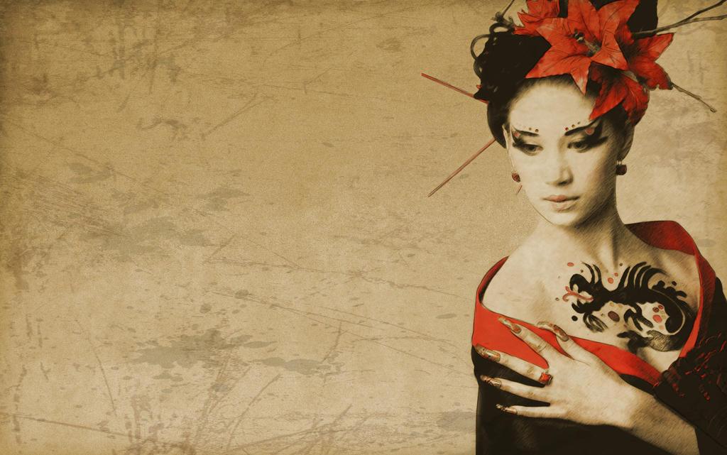 wallpaper geisha corals girl - photo #40