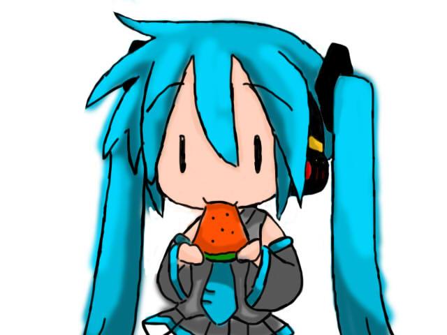 chibi miku eating .simplified. by Zay-Zakuraii-11 on ...