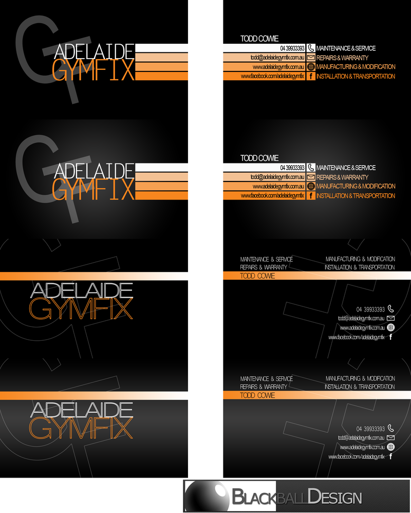Adelaide gymfix business card concepts by blackballdesign on adelaide gymfix business card concepts by blackballdesign reheart Choice Image