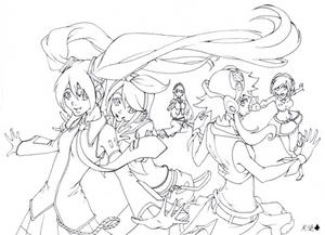 Vocaloid Girls - Lineart by baranot3nshi