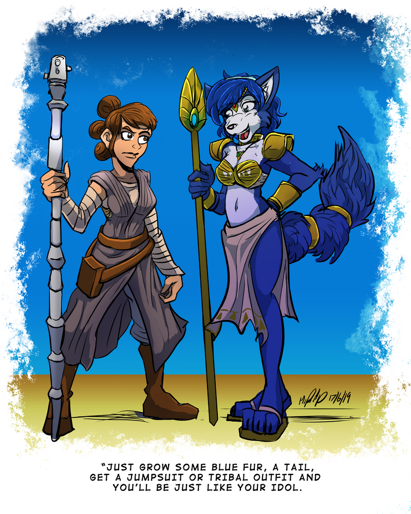 Rey and Krystal - Coloured by MikeOrion