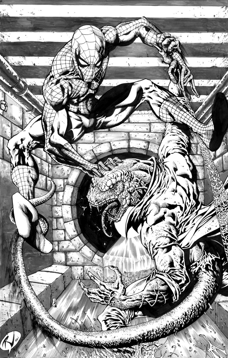 Inked Spidey vs Lizard by RudyVasquez