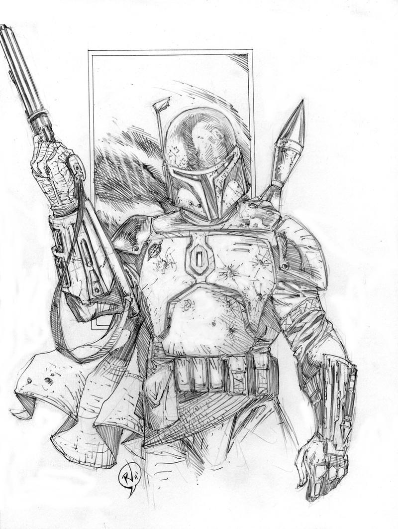 Boba Fett Sketch By RudyVasquez On DeviantArt
