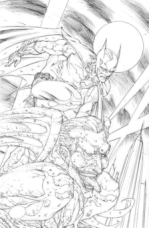Batman Gargoyle Pencils by RudyVasquez