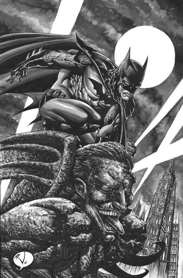 Batman on Gargoyle INKWASH by RudyVasquez