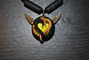 Golden Glass Heart Pendant by KirstenBerryCrafts