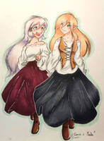 Duet drawing - Elwensa and Masha by Elwensa