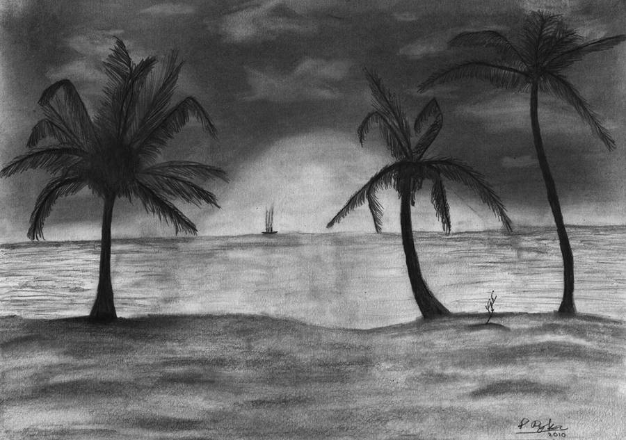 The Beach Pencil Drawing by Toothpick134