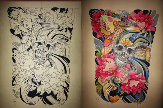 Tattoo design - Japanese Koi and Skull