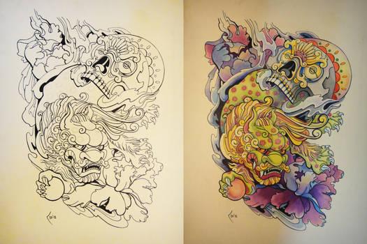 Tattoo design - Japanese Foo Dog and Skull