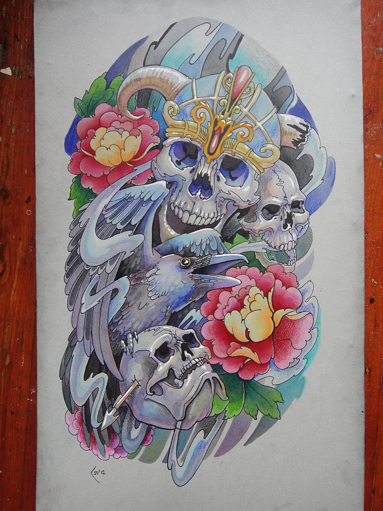 Tattoo design Skulls and crow -  sleeve by Xenija88