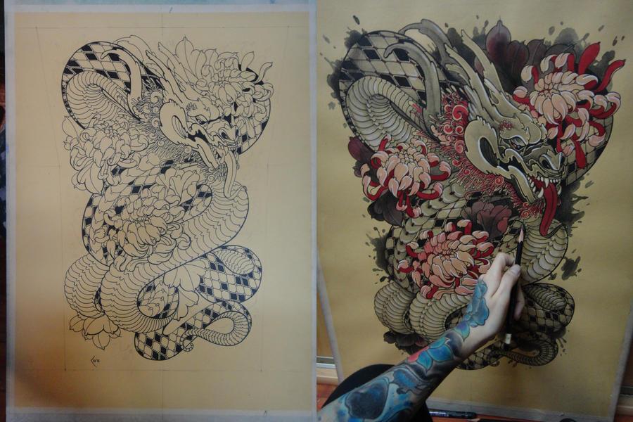 tattoo design japanese dragon by xenija88 on deviantart. Black Bedroom Furniture Sets. Home Design Ideas