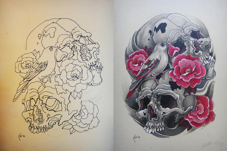 Tattoo design -  Skulls, bird and roses by Xenija88