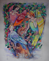 Tattoo design - Solar Garden Birds