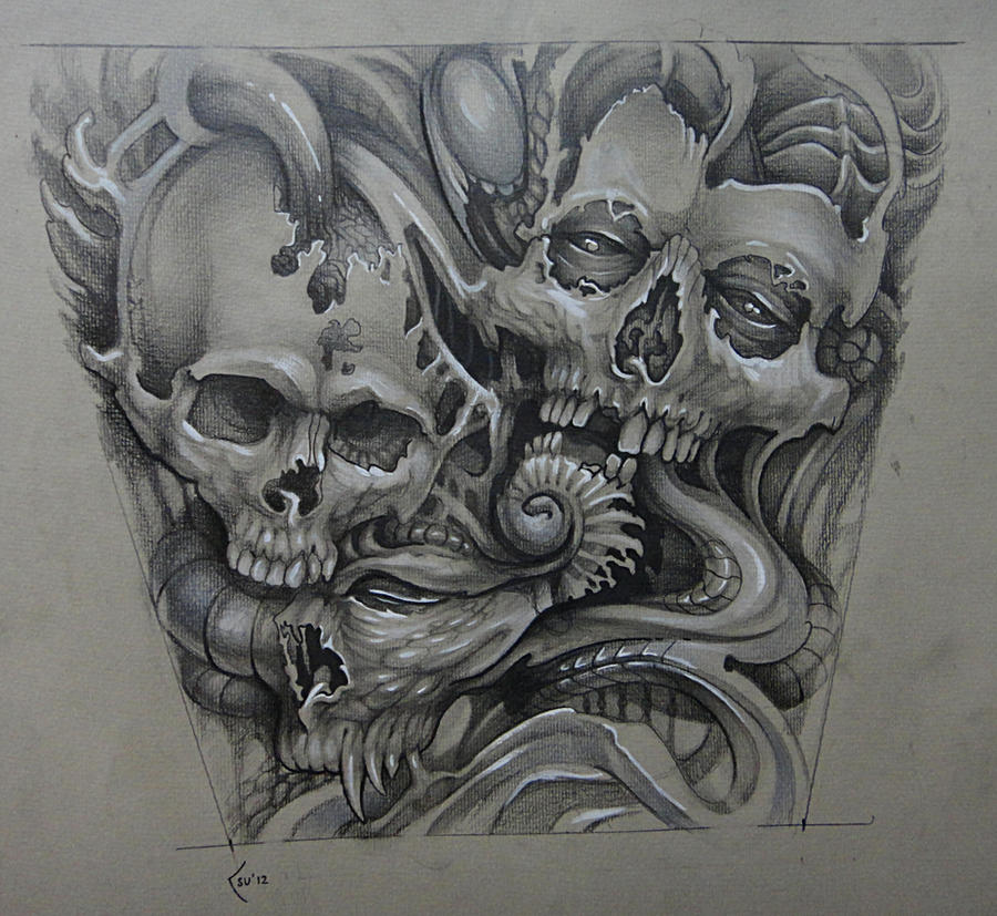 Tattoo design - organic skulls by Xenija88 on DeviantArt