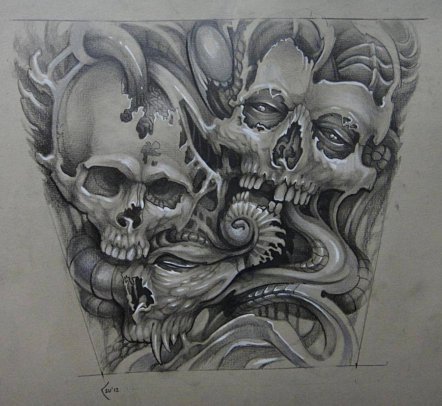 Tattoo design - organic skulls by Xenija88 on DeviantArt