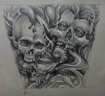 Tattoo design - organic skulls
