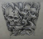 Tattoo design - organic skulls