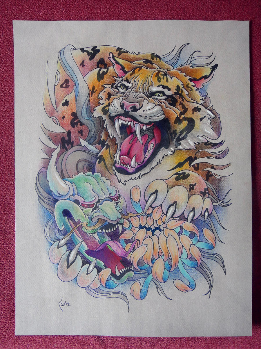 Tattoo design - Tiger and Hanya Mask by Xenija88