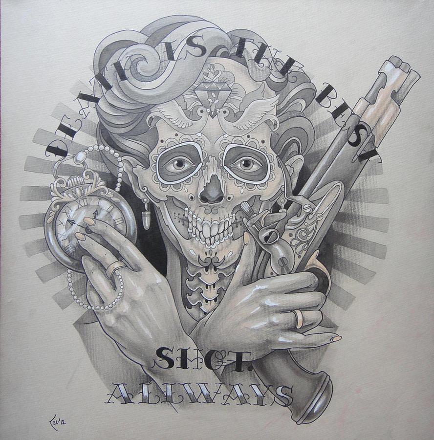 Tattoo design - Death is the best shot by Xenija88