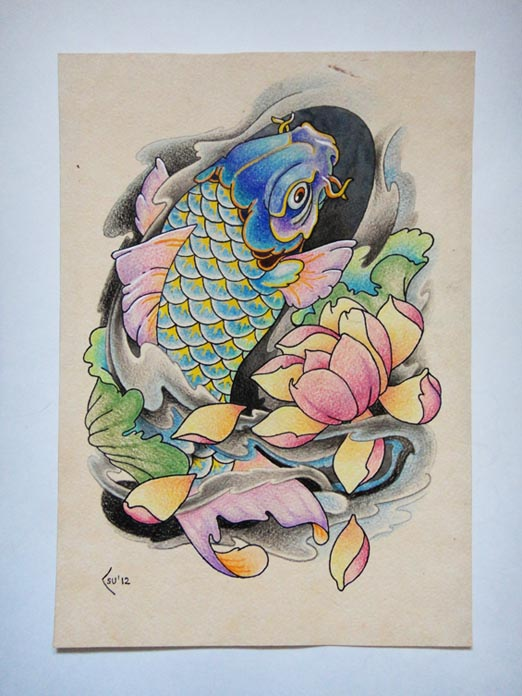 Tattoo design - Koi fish by Xenija88