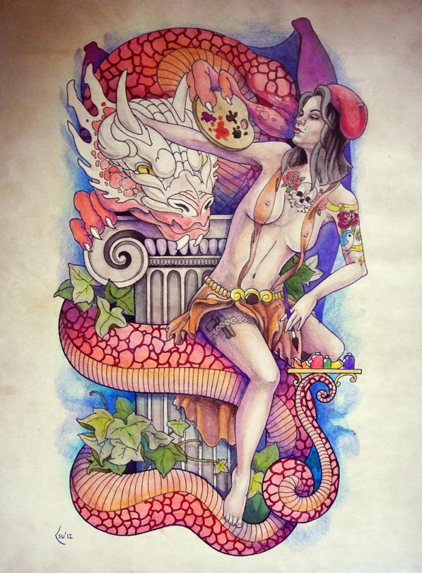Tattoo design - Pin - up girl and dragon by Xenija88