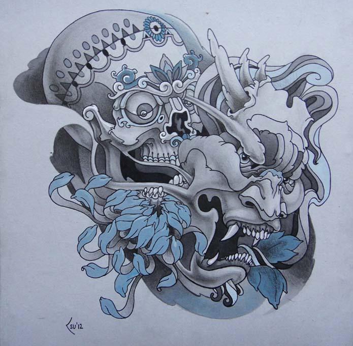 Tattoo design - Skull and Hanya mask by Xenija88