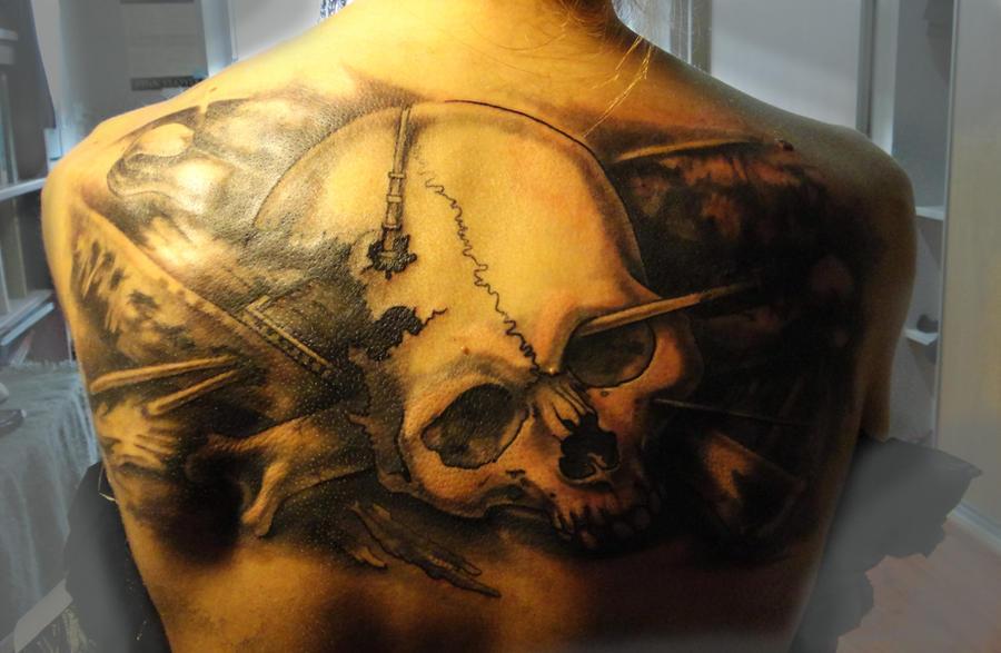 Tattoo - Skull and broken ship by Xenija88